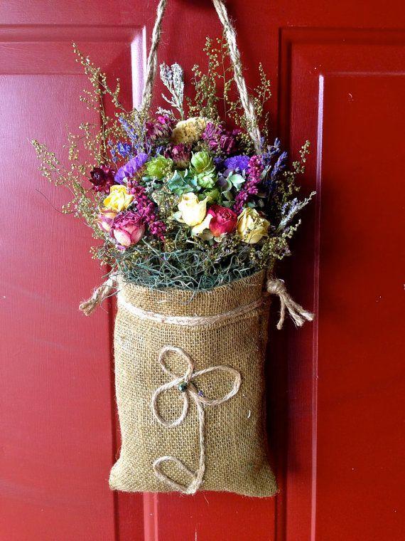 Dried Flower Arrangement /Cottage Chic/ Rustic/ Burlap