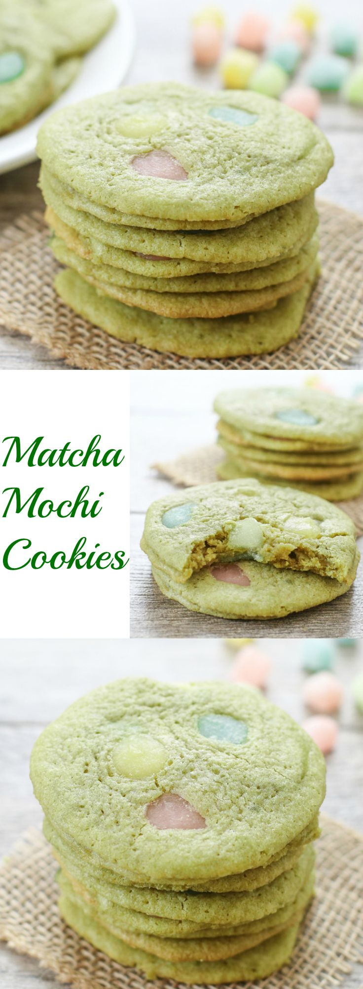 Matcha Green Tea Mochi Cookies.  These matcha green tea cookies are crispy and chewy, with pieces of mochi sprinkled throughout.