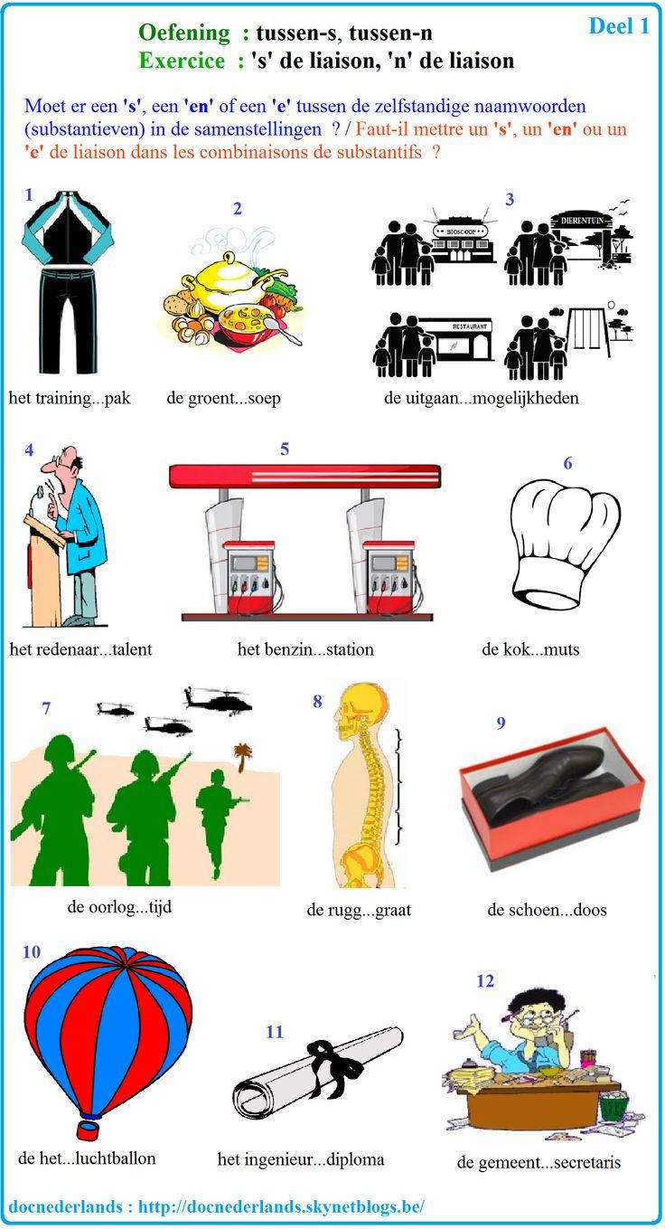 Oefening : moet er een 'S', een 'EN' of een 'E' in de samengestelde woorden? / Exercice : faut-il mettre un 'S', un 'EN' ou un 'E' dans les mots composés en néerlandais?