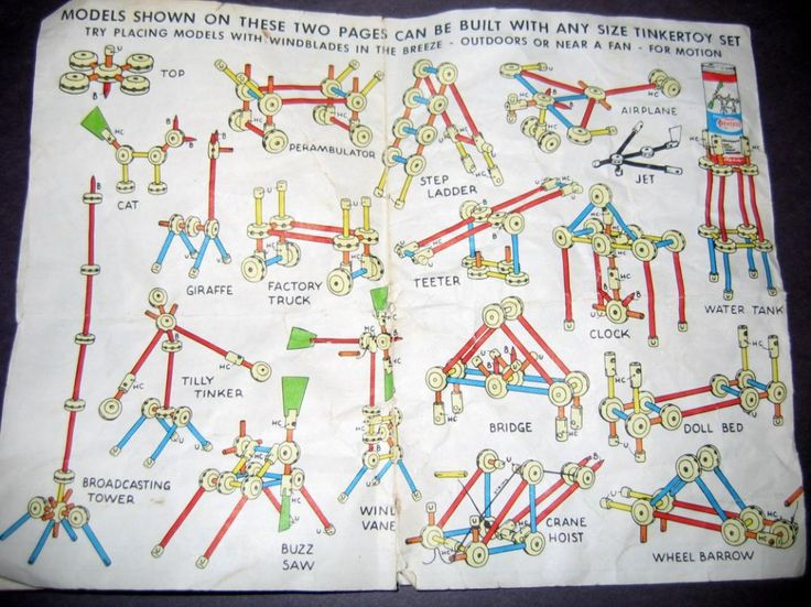 Vintage 1959 Tinker Toy Instructions-