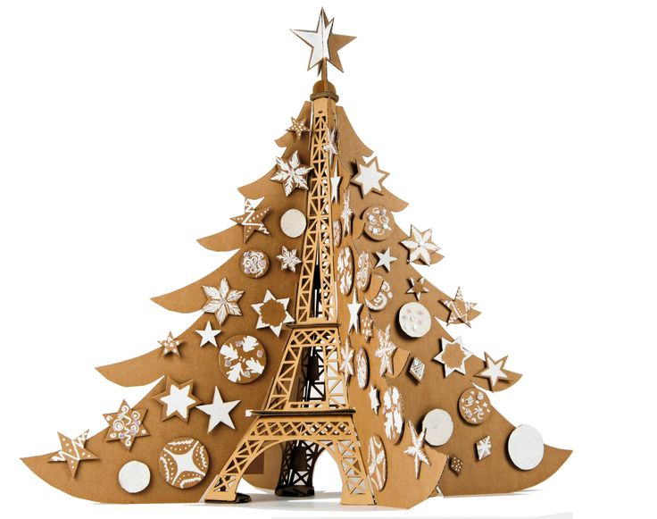 Christmas tree diy pinterest Cardboard christmas tree diy  Cardboard Tour Eiffle  Cardboard Eiffle Tower