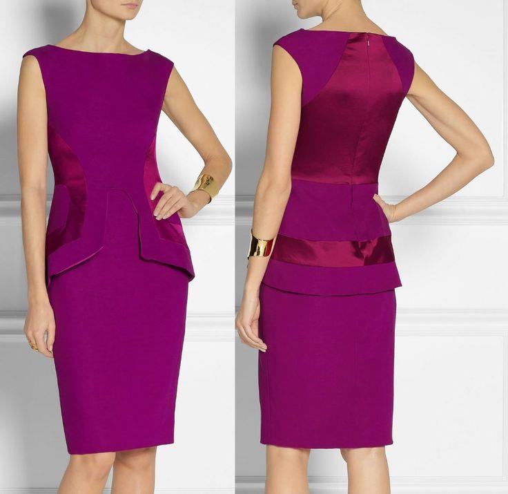 Платье, фиолетовый атлас филенчатые лён полушерстянная баски элегантный рабочий платья 2648