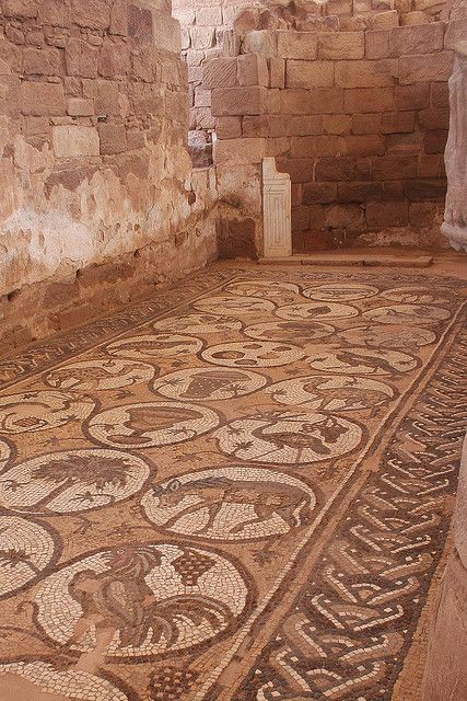 Petra Byzantine church mosaic floor, 5th and 6th centuries. First built over Nabataean and Roman remains around 450 AD. It may have been a major 5th- and 6th-century cathedral, which is intriguing given the other evidence of Petra's decline after a 363 AD earthquake.
