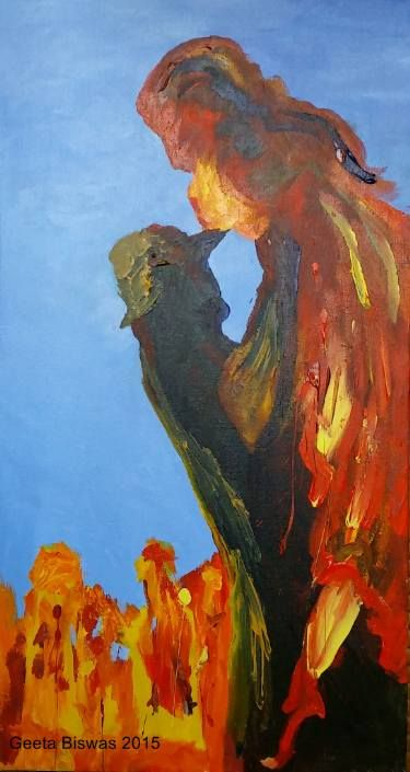 "Saatchi Art Artist Geeta Biswas; Painting, ""The Melting"" #art #painting #fineart #contemporaryart #acrylic #abstract #autumn #love #couple #melting"
