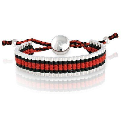 Fad Macrame Adjustable Bracelet Silver Plated Cylinder Shapes with Red, Black and White Combination Cord (Purchase Over .... $14.40. Silver Plated Cylinder Shapes. Red, Black and White Combination Cord. Wow!Adjustable Marcrame Bracelet. Received item For Free Packed Beautifuly in a nice engraved Velvet Pouch with jewelry care cloth. Save 72%!