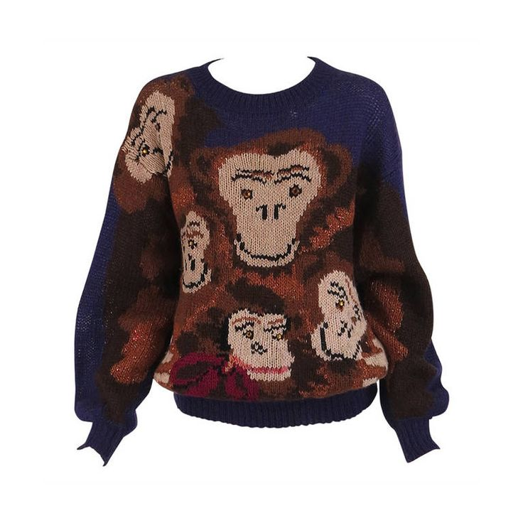 1980s Krizia Maglia The Monkey Family knit sweater   From a collection of rare vintage sweaters at https://www.1stdibs.com/fashion/clothing/sweaters/