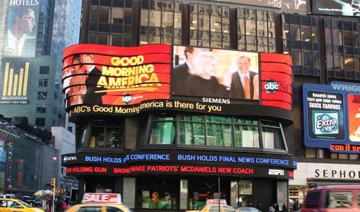 GOOD MORNING AMERICA Visit us Monday to Friday in Times Square (Broadway at 44th Street) starting at 7 a.m. for a chance to be part of our live broadcast. Viewers outside our studio get a front row seat to the show and you might even get to meet our anchors!