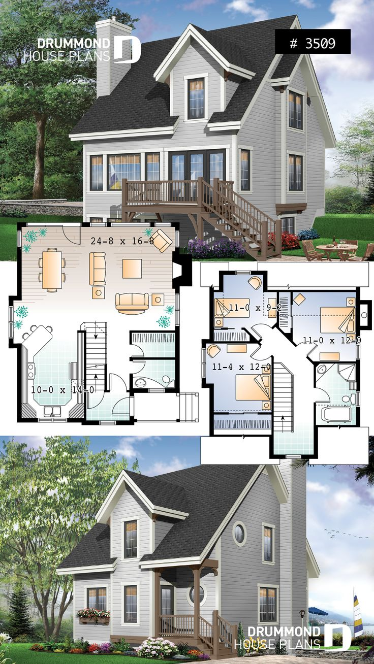 Affordable country house plan or 3 bedroom chalet, open space, fireplace, panoramic views