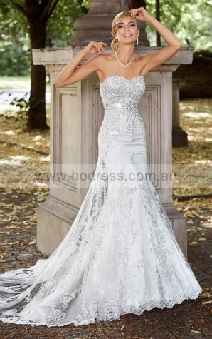 Sleeveless Lace-up Tulle Sweetheart Sheath Wedding Dresses gecf1045