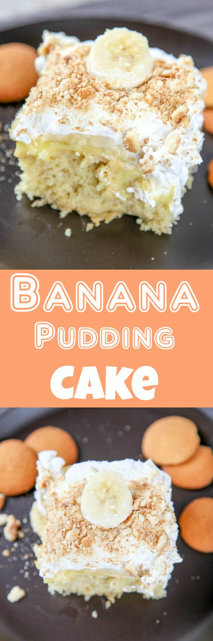 Banana Pudding Poke Cake: Moist banana cake topped with a generous amount of cream and vanilla wafers. All the flavors of banana pudding in an easy to bake cake!
