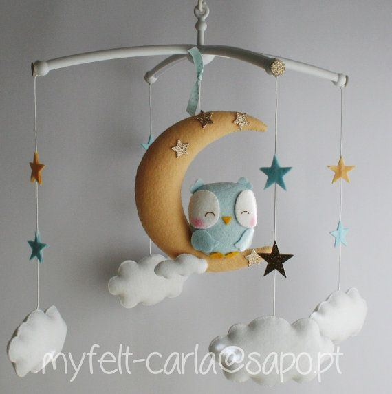 Pastel Baby Mobile Moon Mobile Baby Crib Mobile Owl by myfelt