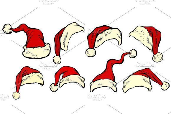 Santa Hat Collection Set Retro Vector Illustration Graphic Design Pattern Vintage Logo Design