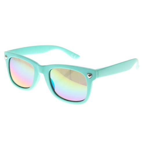 Kids Mint Green Rubber Heart Sunglasses