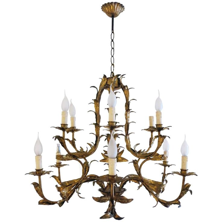 Gilded Iron Chandelier, French, 1940s