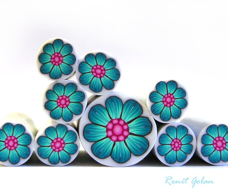 Polymer clay millefiori cane - Turquoise Flower cane