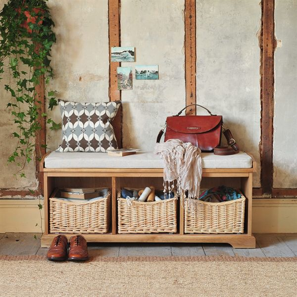 Farmhouse Natural Storage Bench, Shoe Bench, Hall Bench, Hallway Furniture, Hanging Ivy, Wooden Floor, Leather brwon Bag, Geometric Cushion, Bare Walls, Wicker Baskets