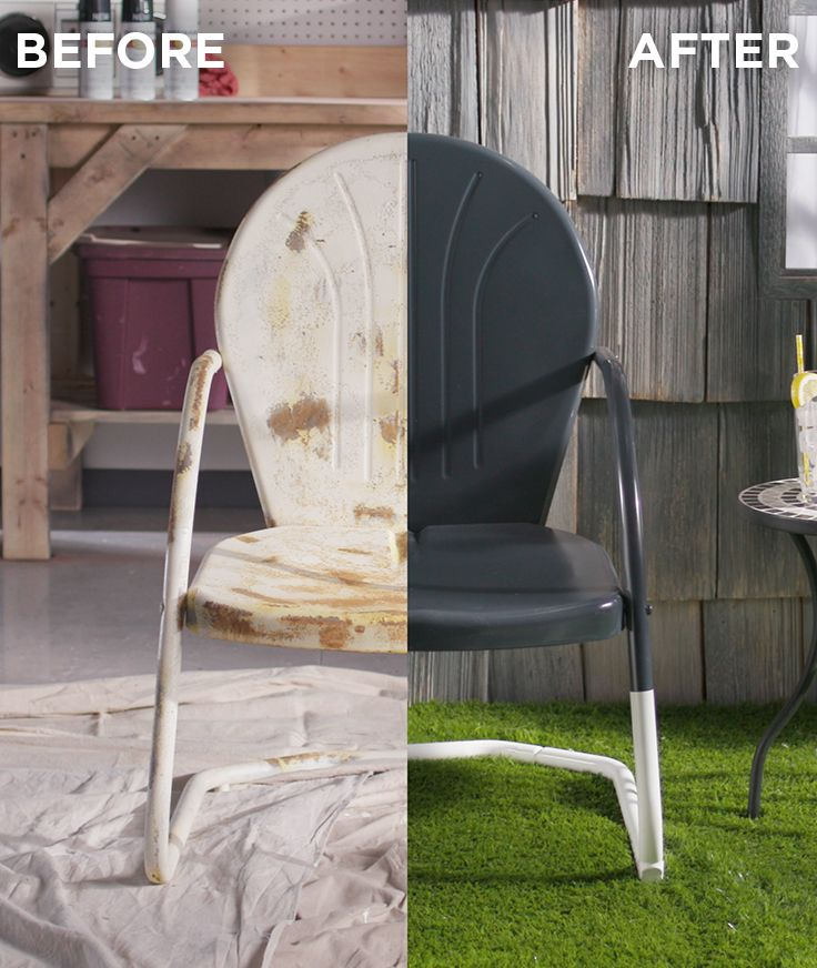 Make last season's rusted chair new again with Stops Rust. Learn step-by-step how to remove rust and get beautiful, long-lasting results. Whether a vintage piece of decor, dated furniture, rusty metal table or old chair, you can make it look new again with this easy DIY tutorial and Rust-Oleum Stops Rust. #inwiththeold