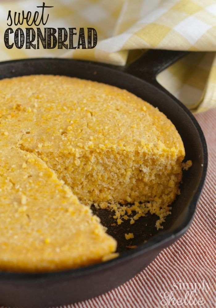 I love this Sweet Cornbread recipe. It's moist and perfectly sweet. Bake it in a cast iron skillet for that irresistible crispy crust. Yum! Making some tonight!