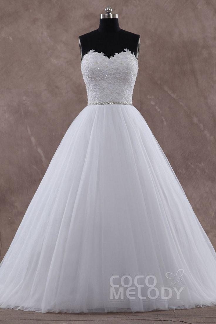 Heißes Brautkleid in A-Linie aus Tüll mit Herzausschnitt Hofschleppe Schnürkorsett Perlenstickerei und Applikationen Ärmellos CWLT15004