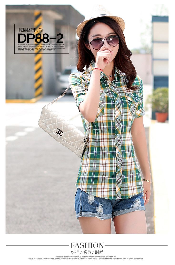 2016 summer new fashion plaid short sleeve shirt women summer blouse shirt casual cotton tops girl summer clothing shirt-in Blouses & Shirts from Women's Clothing & Accessories on Aliexpress.com | Alibaba Group