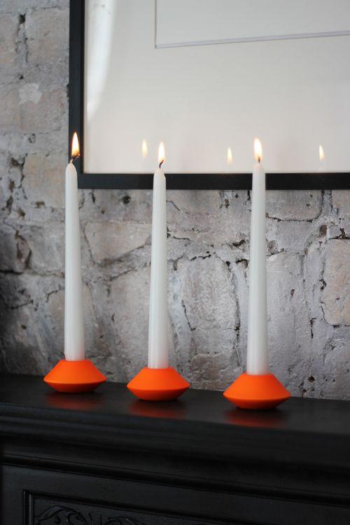 Neon candleholders - unique home decor at www.aprilandthebear.com