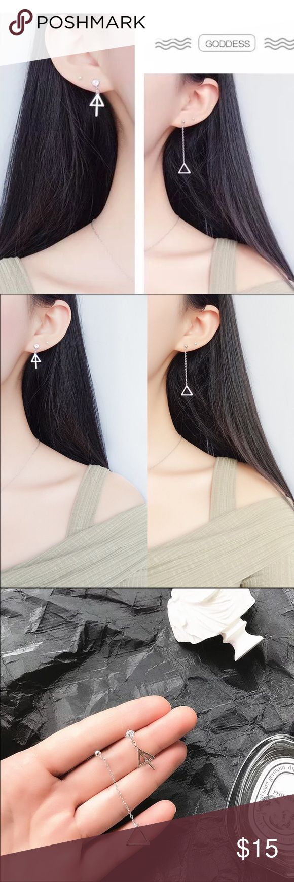 Women asymmetric triangle design earring Brand new! Made by stering silver 925. Long side one length is 1.75 inches; the short one side is 0.75 inches. Price is firm. No trade! If it's been sold out, please welcome to leave me message for ordering. It's take 2-4 weeks usually. Jewelry Earrings