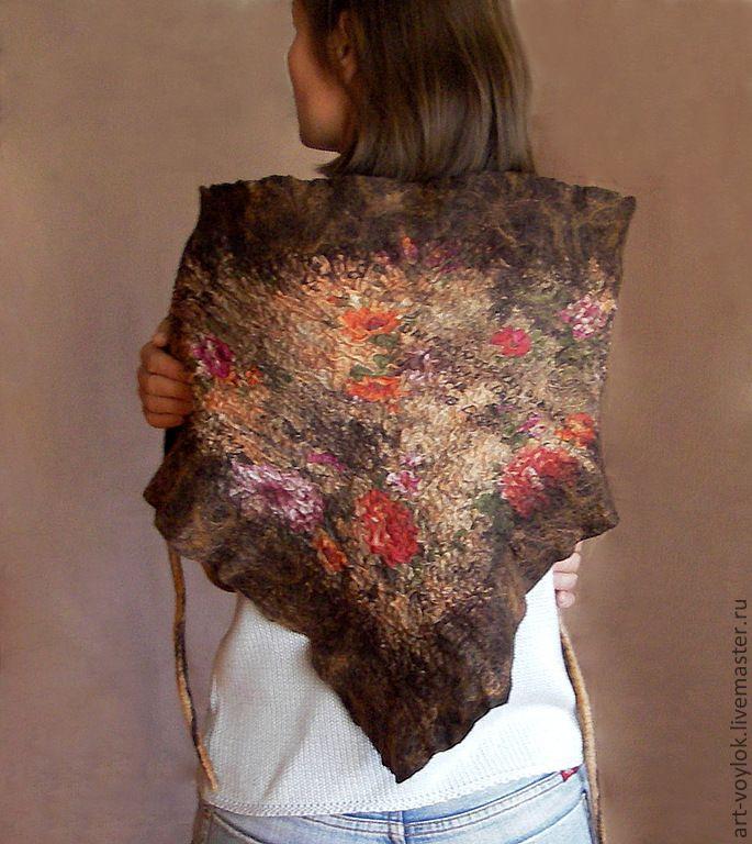 """Бактус """"Винтажный"""" - бактус,платок,шарф,нуновойлок,8 марта,подарок,nuno felting"""