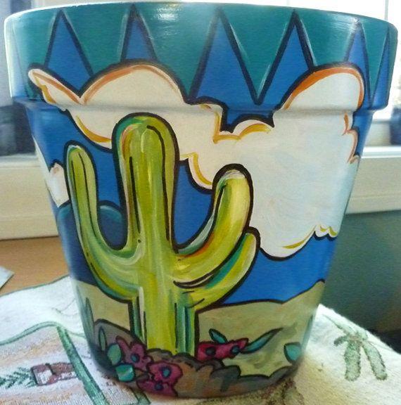 ~Cactus Under the Sun - 6 Original Hand Painted Flower Pot~