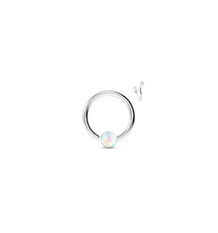 Ball closure ring opaal balletje. - www.piercingparadise.com