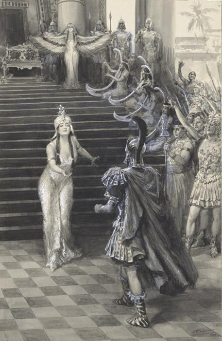 Cleopatra is often depicted as a seductress. A drawing by Faulkner of Cleopatra greeting Antony