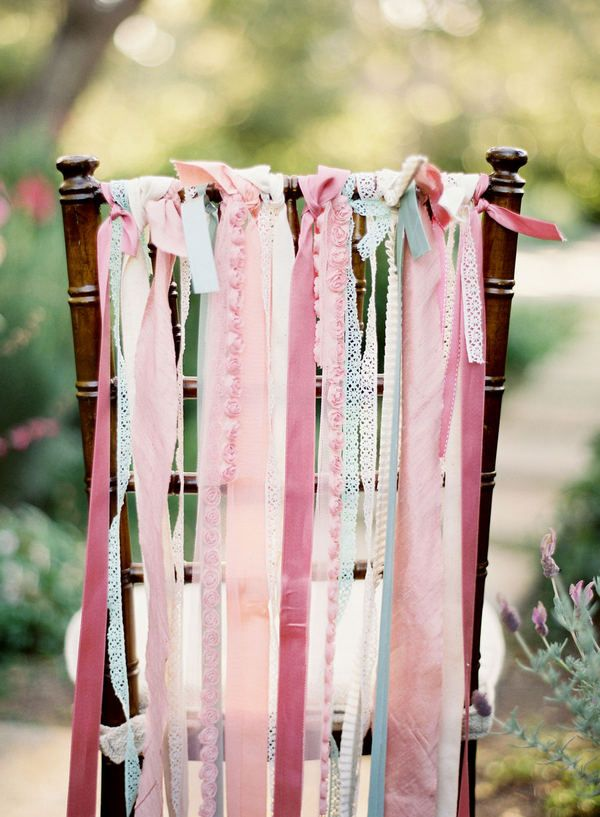 Ribbons tied to the back of a chair...: Decor Ideas, Ribbons Chairs, Wedding, Chairs Ribbons, Pink Ribbons, Chairs Decor, The Bride, Bridal Shower, Parties Ideas