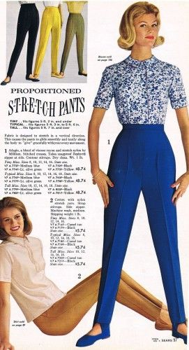 Stirrup Pants 1963 (Which looked absolutely the worst on everyone, hope never come back in style but anything is possible)