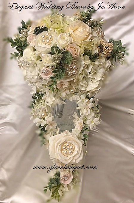 RUSTIC GLAM Silk Flower Wedding Bouquet by Elegantweddingdecor