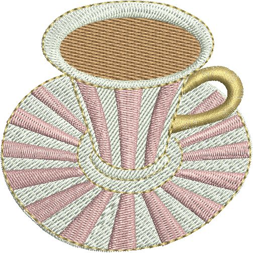 Coffee Cup Designs for Machine Embroidery: Cups 31-50