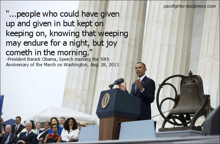 50th Anniversary Celebration of the March on Washington - My favorite quotes from Obama's speech yesterday marking the 50th anniversary of the March on Washington. These two quotes resonated with the fibro fighter in me.