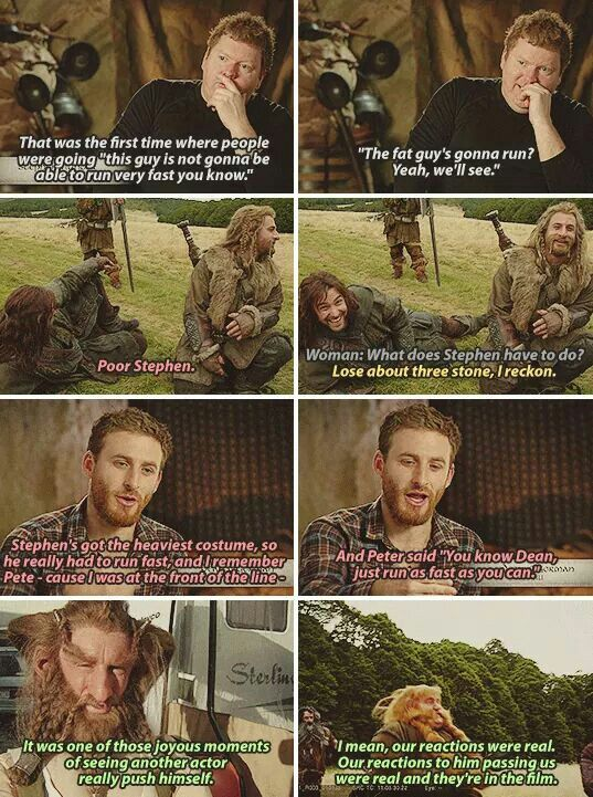 For those who don't own the EE DVD, the scene where Bombur races past all the other dwarves to get to Beorn's house before them has a story. Steven Hunter (Bombur) realized that the shot they were filming wouldn't show his feet, so he had the costumers help him get his running shoes on. Enabling him to outrace everyone, much to their surprise.