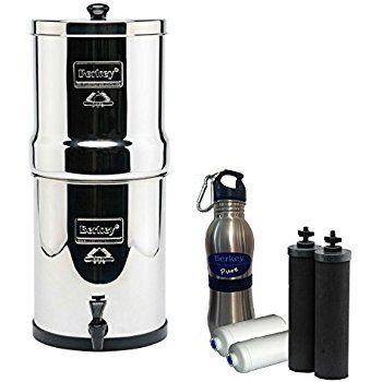 Royal Berkey Water Filter 3 Gallon System Bundle: 2 Black BB9 Filters, 2 Fluoride PF2 Filters, 1 Stainless Steel Water Bottle