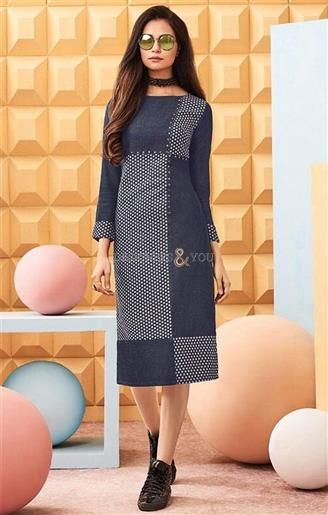 #Order Now Everstylish #Stitched #StraightCut #Indian #Party #Wear #Kurti #ForPant. This #Contemporary #Printed #Top Has Three Fourth Sleeves & Crew Neckline.  #Designers#And#You