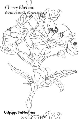 "Cherry Blossom Illustrated Weekly Planner 2018 Illustrated Calendar Schedule Organizer Appointment Book, Cherry Blossom Design CB12 Single Sakura Flower Cover, 6x9"" #planners #weeklyplanners #weeklyplanners2018 #illustratedweeklyplanners2018 #illustratedw"