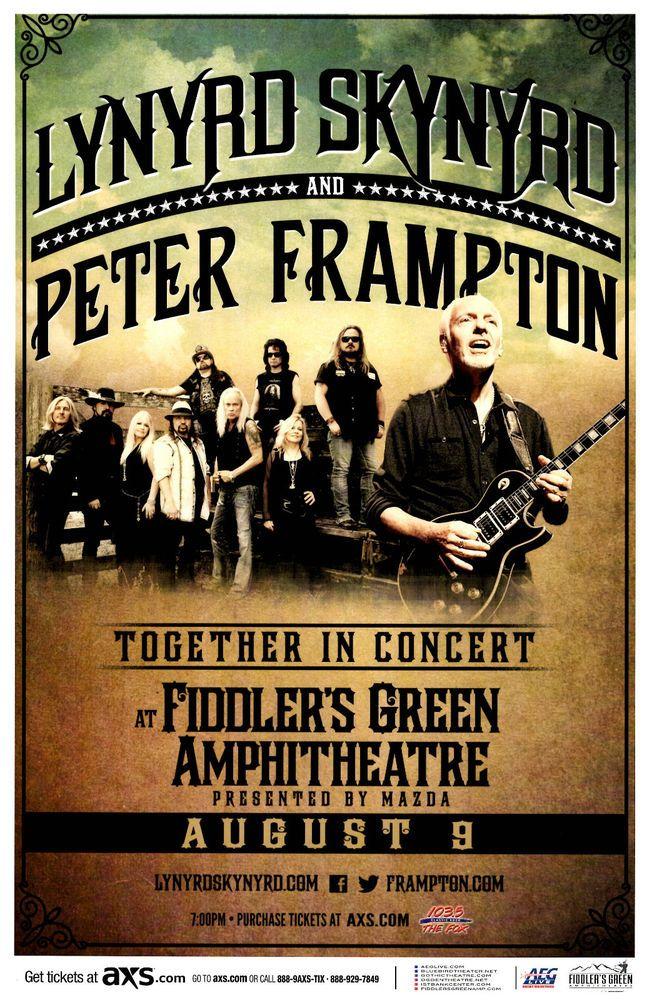 LYNRYD SKYNYRD / PETER FRAMPTON 2016 Fiddlers  Denver Concert Flyer / Gig Poster