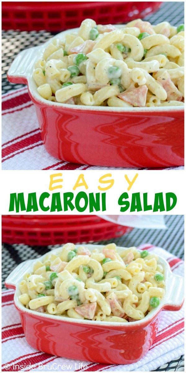 This easy macaroni salad is full of veggies and coated in Ranch dressing. Perfect picnic food!
