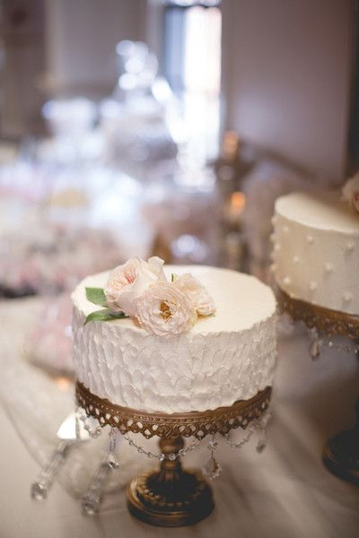 Petite wedding cake idea - single tier white wedding cake with pastel pink garden rose topper displayed on metallic gold stand {Steve Depino Photography}