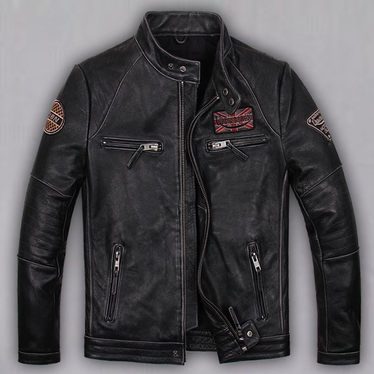 Find More Leather & Suede Information about Free Shipping 2015 New Men Leather Jacket Black Stand Collar Slim Vintage Style Genuine Cow Skin Leather Men Motorcycle Jacket,High Quality motorcycle jacket men,China motorcycle jacket sale Suppliers, Cheap motorcycle style leather jackets from ShowGirl Fashion on Aliexpress.com
