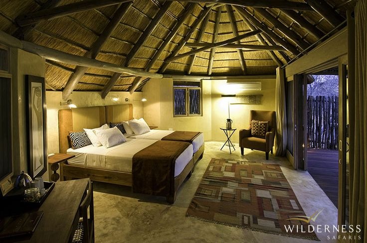 Ongava Lodge – There are 13 chalets and 1 family room, attractively built out of brick, rock and thatch. #Africa #Safari #Namibia