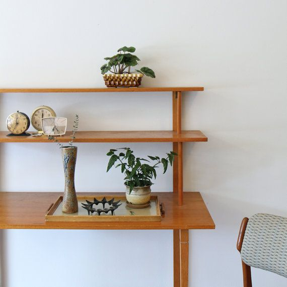 Vintage Danish Modern Wall Shelves Wall Mounted Desk