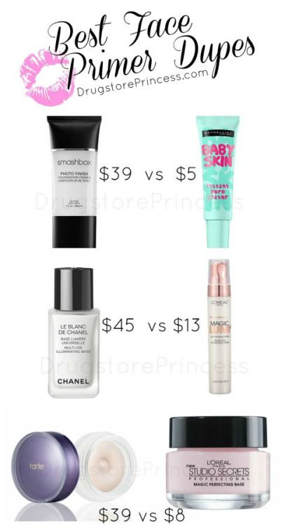 Face Primer Dupes for Your Skin. More dupes for Benefit, Make Up Forever, Smashbox and Hourglass at the link.