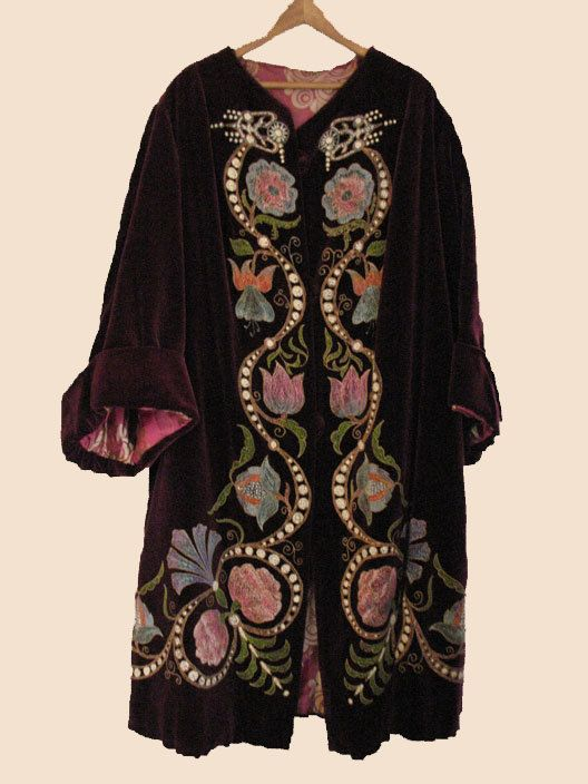 1920's Velvet Decorated Opera Coat by worldlyandwise on Etsy, $325.00