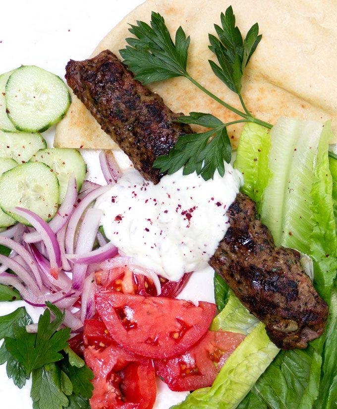 Turkish Kofta Kebabs with garlicky yogurt sauce