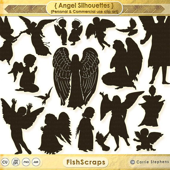 50% Sale - Angel Clip Art - Christian Graphics - Angel Silhouettes ...