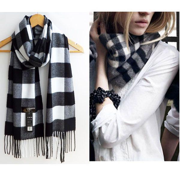 Winter Women Wool Blend Warm Soft Geometric Tassel Wrap Scarf Shawl Stole Casual…